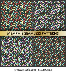 Seamless patterns in memphis style. 80s 90s style. Vector colorful illustration.