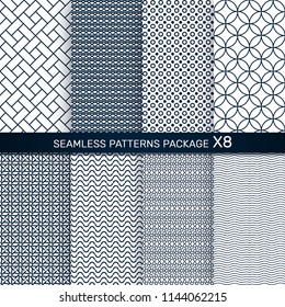 Seamless patterns package for textile, print, decoration.Monochrom geometry