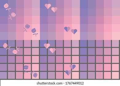 Seamless patterns in pastel palette with roses and hearts. gradient background. for prints, textile, wallpaper, packaging