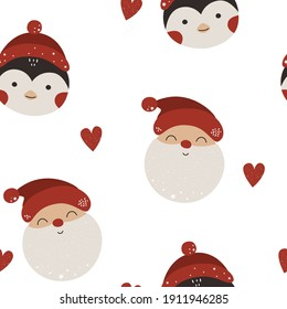 Seamless patterns with penguin and Santa. Vector illustration