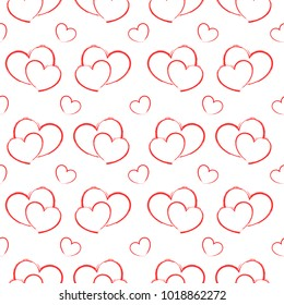 Seamless Patterns Red Heart Draw on white background vector illustration, valentine day
