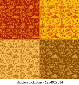 seamless patterns for restaurant and cafe food and dishes