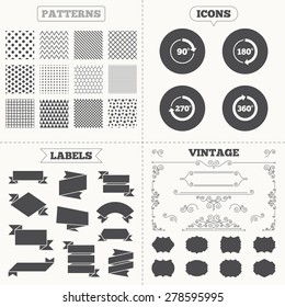 Seamless patterns. Sale tags labels. Angle 45-360 degrees circle icons. Geometry math signs symbols. Full complete rotation arrow. Vintage decoration. Vector