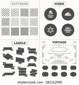 Seamless patterns. Sale tags labels. Kosher food product icons. Chef hat with fork and spoon sign. Star of David. Natural food symbols. Vintage decoration. Vector