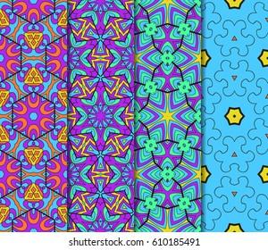 Seamless patterns set. Decorative ethnic color floral ornament. vector illustration. oriental design for print, wallpaper, decor, fabric, textile
