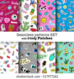 Seamless patterns set with fashion patch badges. Pop art. Stickers, pins, patches in cartoon 80s-90s comic style. Trendy. Vector clip-art.