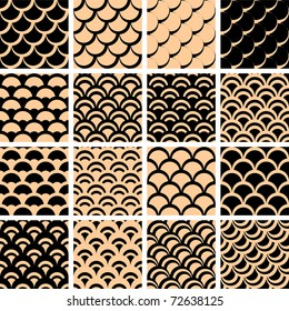 "Seamless patterns set with ""fish scales"" texture. Vector illustration."
