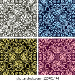 Seamless patterns - set of four colors (no gradient, no clipping mask).