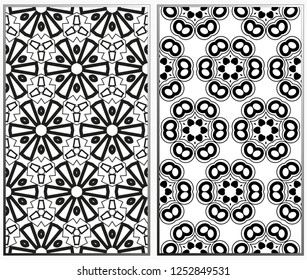 Seamless patterns set. Geometric ornaments. Abstract backgrounds. Vector illustration.