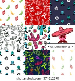 Seamless patterns set. Mexican motives.