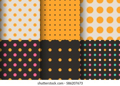 Seamless patterns set of polka dot, circles