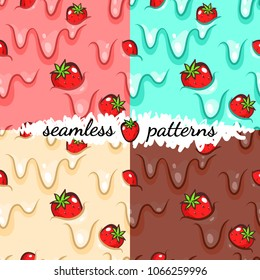 Seamless patterns set. Strawberry set.