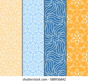Seamless patterns set. Vintage decorative ethnic floral ornament. vector illustration. oriental design for print, wallpaper, decor, fabric, textile
