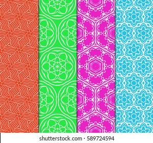 Seamless patterns set. Vintage decorative ethnic floral ornament. vector illustration. oriental design for print, wallpaper, decor, fabric, textile
