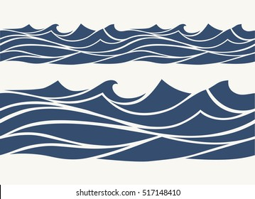 Seamless patterns with stylized blue waves vintage style