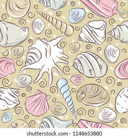 Seamless Patterns with  summer symbols, shellfish and clams  on  beige  background, vector illustration.