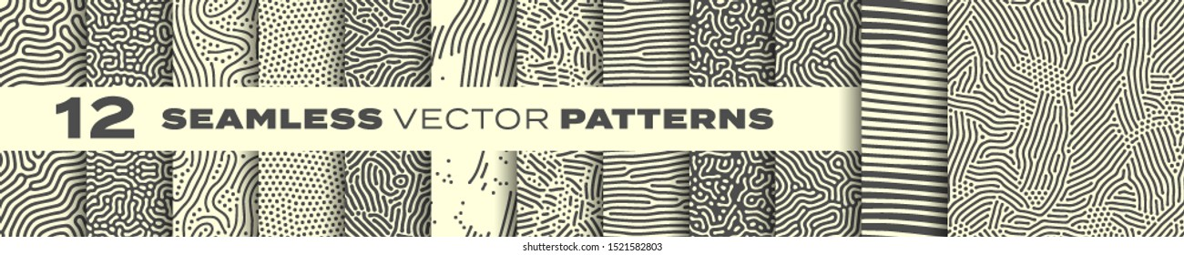 Seamless patterns vector set, abstract organic lines backgrounds. Creative design biological patterns with memphis dots and irregular squiggle line shape texture