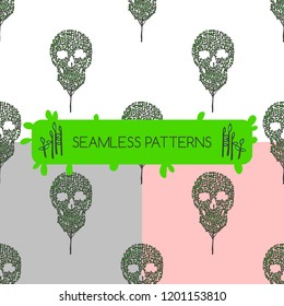 Seamless patterns. Wood-skull.