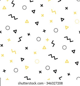 Seamless patterns in yellow colors with geometric elements. Pattern hipster style. Pattern suitable for posters, postcards, fabric or wrapping paper