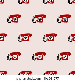 seamless pattern,telephone vector art  background design for fabric and decor