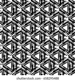 Seamless pattern.Vector repeating texture. Black and white decorative background made of dotted line.