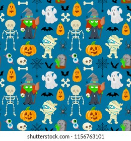 Seamless patttern of cartoon charachters for Halloween on blue background.