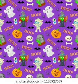 Seamless patttern of cartoon charachters for Halloween on violet background.