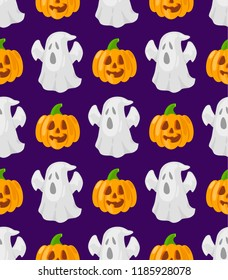 Seamless patttern with cartoon pumpkins and ghosts on violet background.