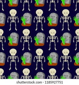 Seamless patttern with skeletons and tombstones on dark background.