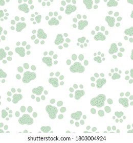 Seamless with paw prints pattern, green and white background vector illustration. Cute cartoon style.