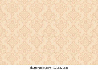 Seamless peach ornament on a beige wallpaper pattern. Floral ornament on background