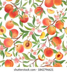 Seamless peach pattern with tropic fruits, leaves, flowers background. Vector illustration in watercolor style for summer  cover, tropical wallpaper, vintage texture, backdrop, wedding invitation