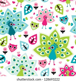 Seamless peacock bird and owl oriental kids background pattern in vector
