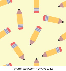 Seamless pencil icon pattern on moccasin background. Simple flat vector design with bright colors for wrapping paper or web.
