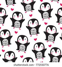 seamless penguin bird pattern vector illustration