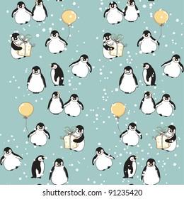 seamless penguin pattern