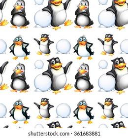 Seamless penguins and snow balls illustration