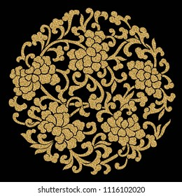 seamless peony flower pattern with gold effect. The peony represents the king of flowers and the flowers of honor in Chinese art
