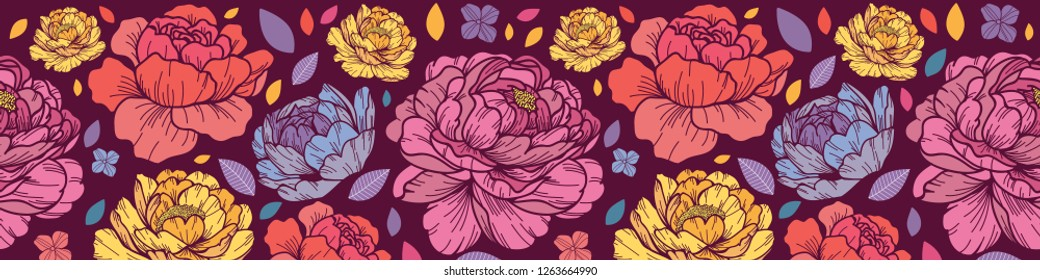 Seamless peony flower vibrant color. Cartoonish and abstract style. Horizontal border Vector illustration. Perfect for print, textile, cards and apparel.