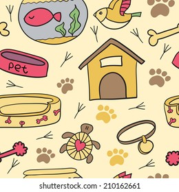 Seamless pet pattern. Seamless pattern can be used for background, card template, business card or for website. Hand drawn cup pattern made in vector.