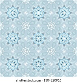 Seamless pettern with circular ornaments on the light blue background. For texile, tiles, background.