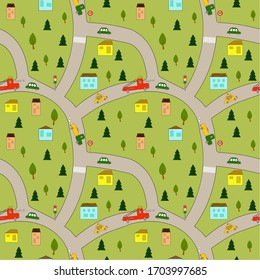 Seamless picture: children's map of the city with roads, cars and houses.
