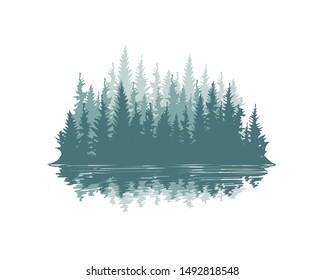 Seamless Pine Tree Background Vector