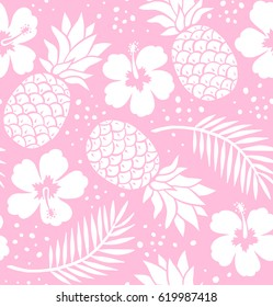 Seamless pineapple and hibiscus pattern.