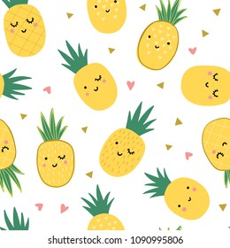 Seamless pineapple pattern with hearts and traingles. Cute funny smiling pineapple background print. Childish summer tropical illustration.