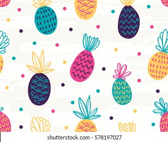 Seamless pineapple pattern with polka dots.Vector colorful background.