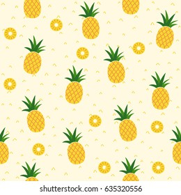 Seamless pineapple pattern for textile fabric or wallpaper backgrounds