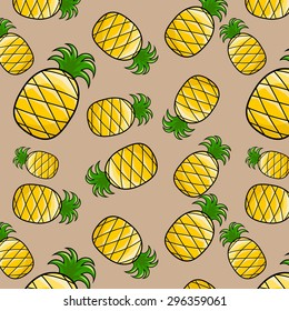 seamless pineapple pattern , for texture and background, vector, illustation