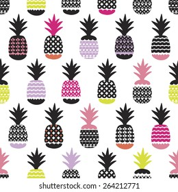 Seamless pineapple retro summer bikini beach theme fruit hot trendy illustration background pattern in vector