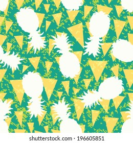 Seamless Pineapple Silhouette Background Pattern
